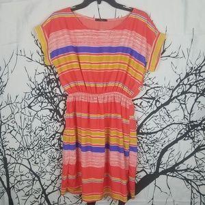 4/$25Striped Cap Sleeve Dress Cinched Waist Orange